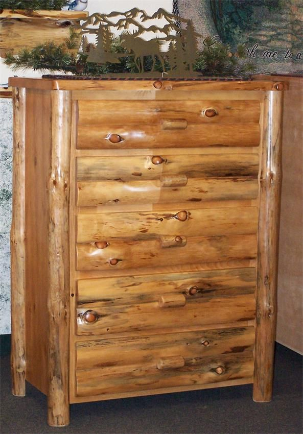 Amish Rustic Pine Log Furniture Chest Of Drawers