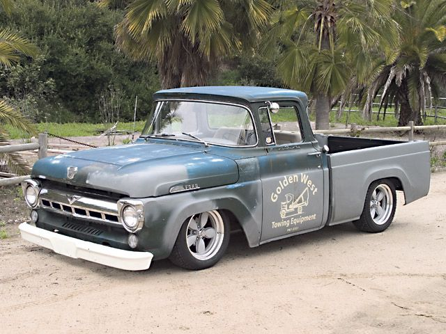 Green Haired Stepchild 1957 Ford F100 Front Quarter With Images Classic Ford Trucks Classic Trucks Ford Trucks