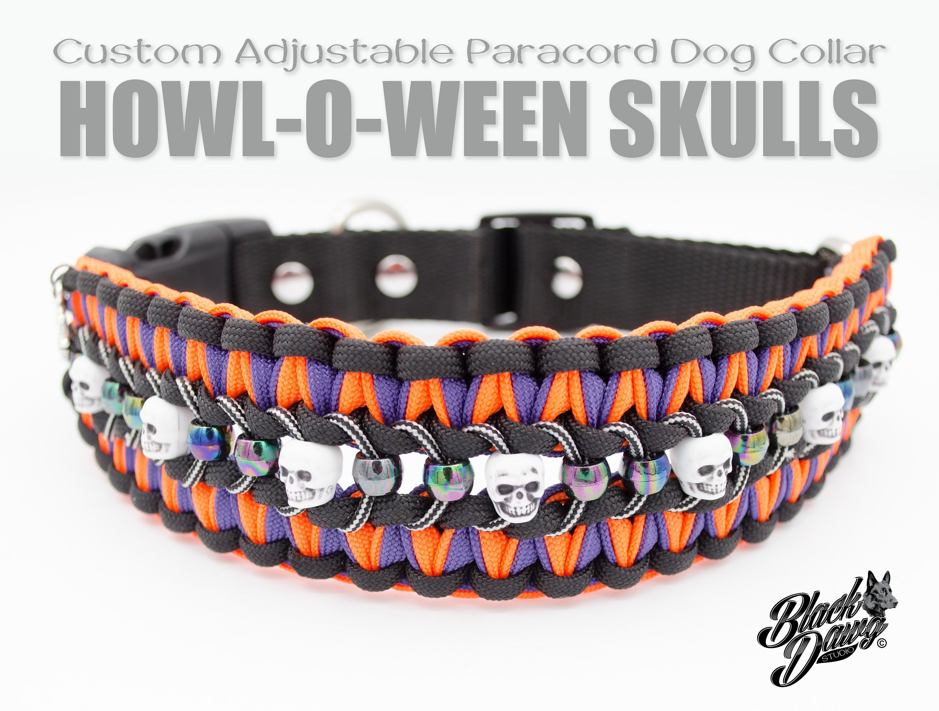 Custom Adjustable Paracord Dog Collar Howl O Ween Skulls Design