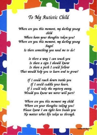I Gave My Child Autism >> To My Autistic Child Autism Awareness Autism Quotes