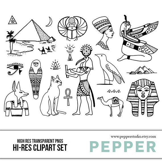 Items similar to Ancient Egypt Doodle Clipart - History, Pyramids, School Drawings, Hand Drawn Illustrations, Blackline, Kids, PNGs on Etsy #hieroglyphicstattoo