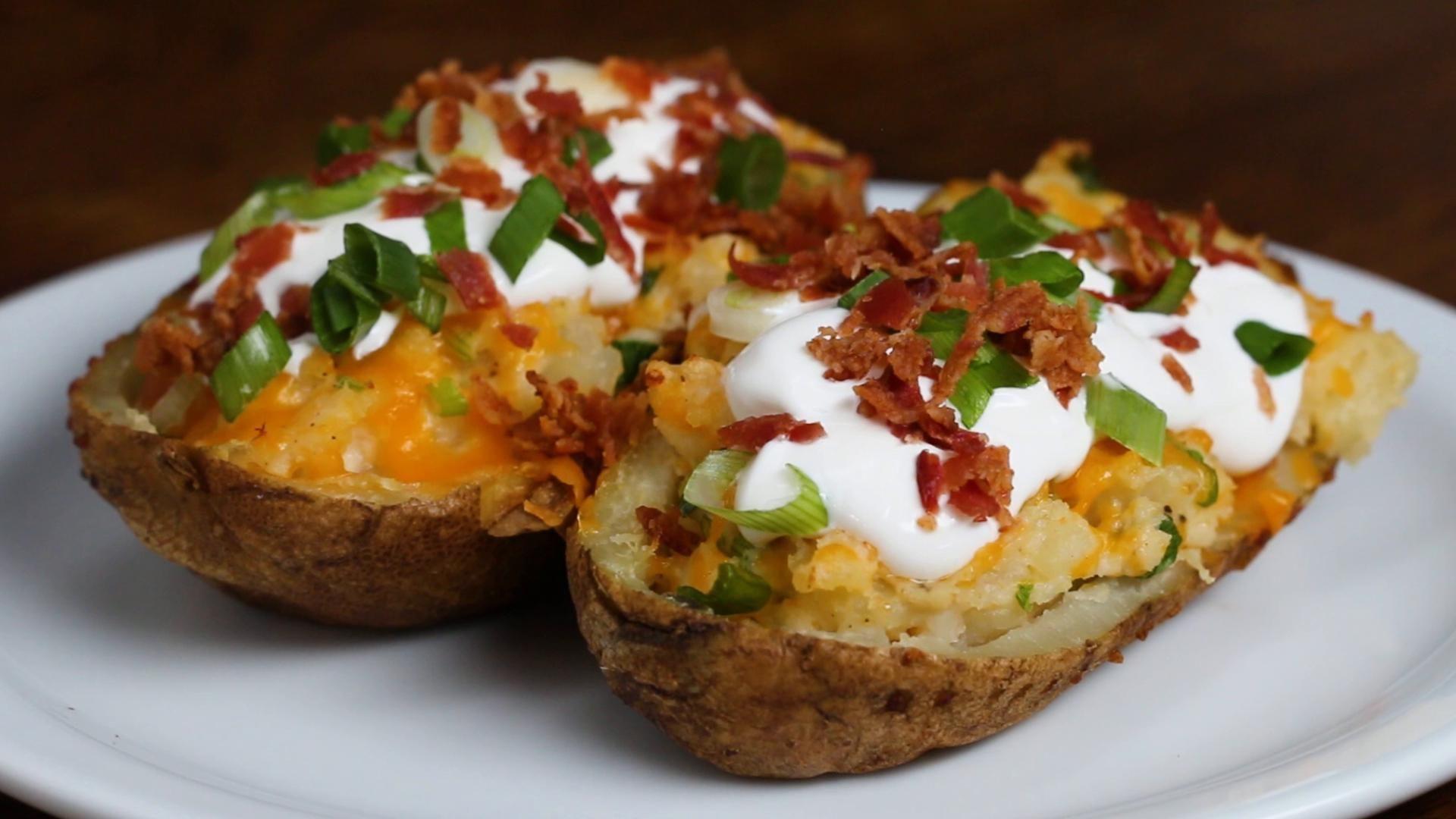 Twice Baked Loaded Potatoes Recipe By Tasty Recipe Baked Potato Recipes Recipes Loaded Potato
