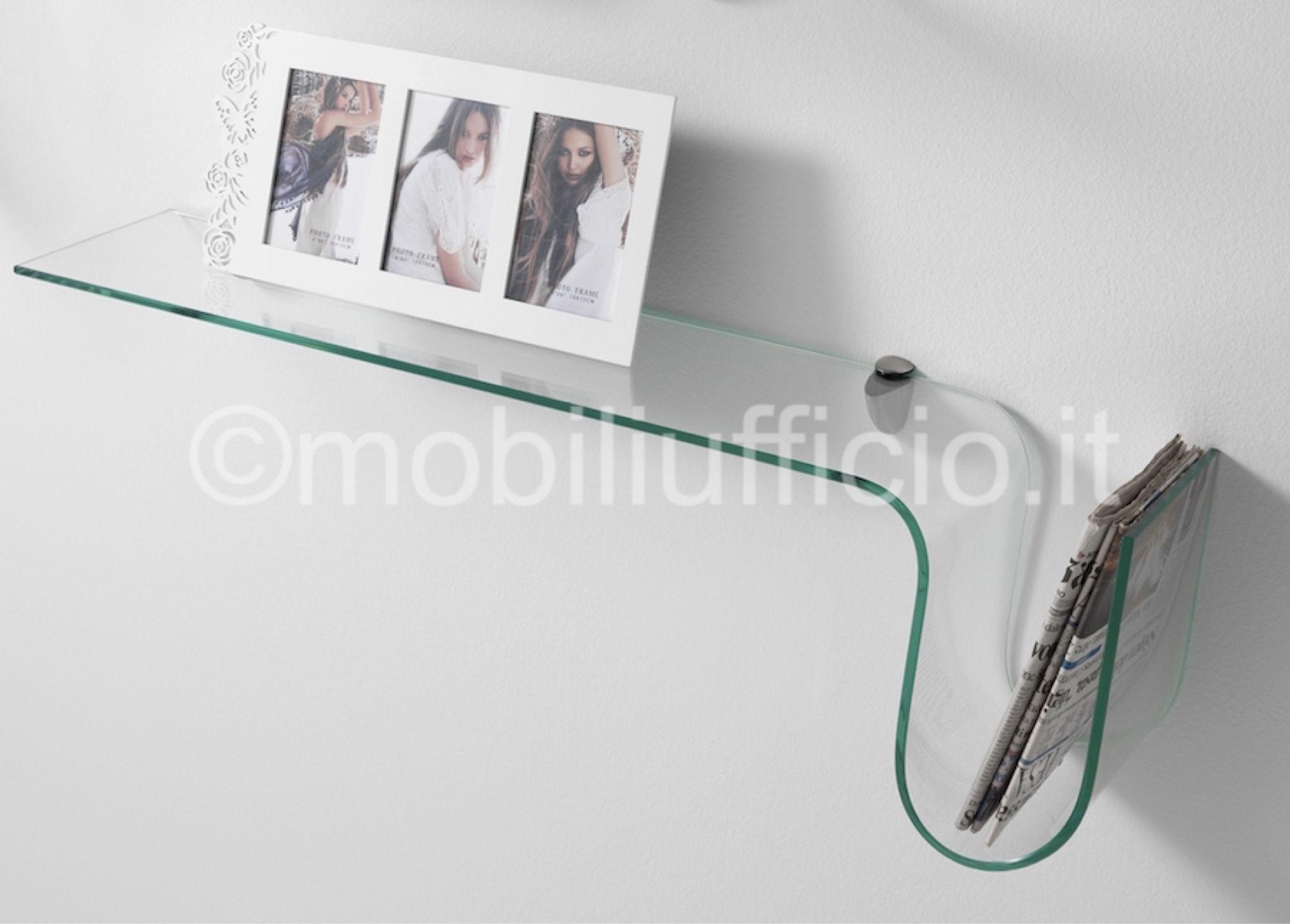 Mensole Per Ufficio : Serie di #mensole in #vetro curvato per ambiente #ufficio o #casa in