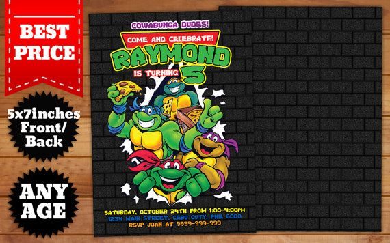 This Instant Downloadable Is For A Teenage Mutant Ninja Turtles Birthday Invitation Template In Photoshop PSD Our Templates Are Designed To