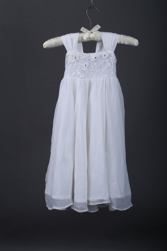 e16c10c4334 White Chiffon Girls Dress- Flower Girl Dresses- White dress- Lace dress-Junior  Bridesmaid- Rustic Girls Dress- Baby Lace Dress  39.00