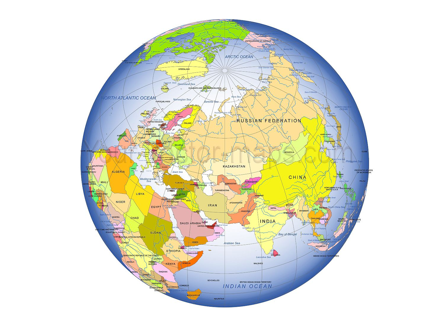 colored asia centered globe map country name ocean name