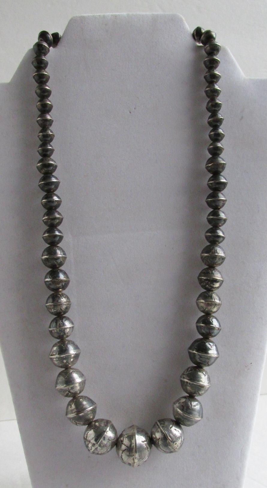 Native American Sterling Silver Bead 12mm Large Navajo Pearl Drop Earrings