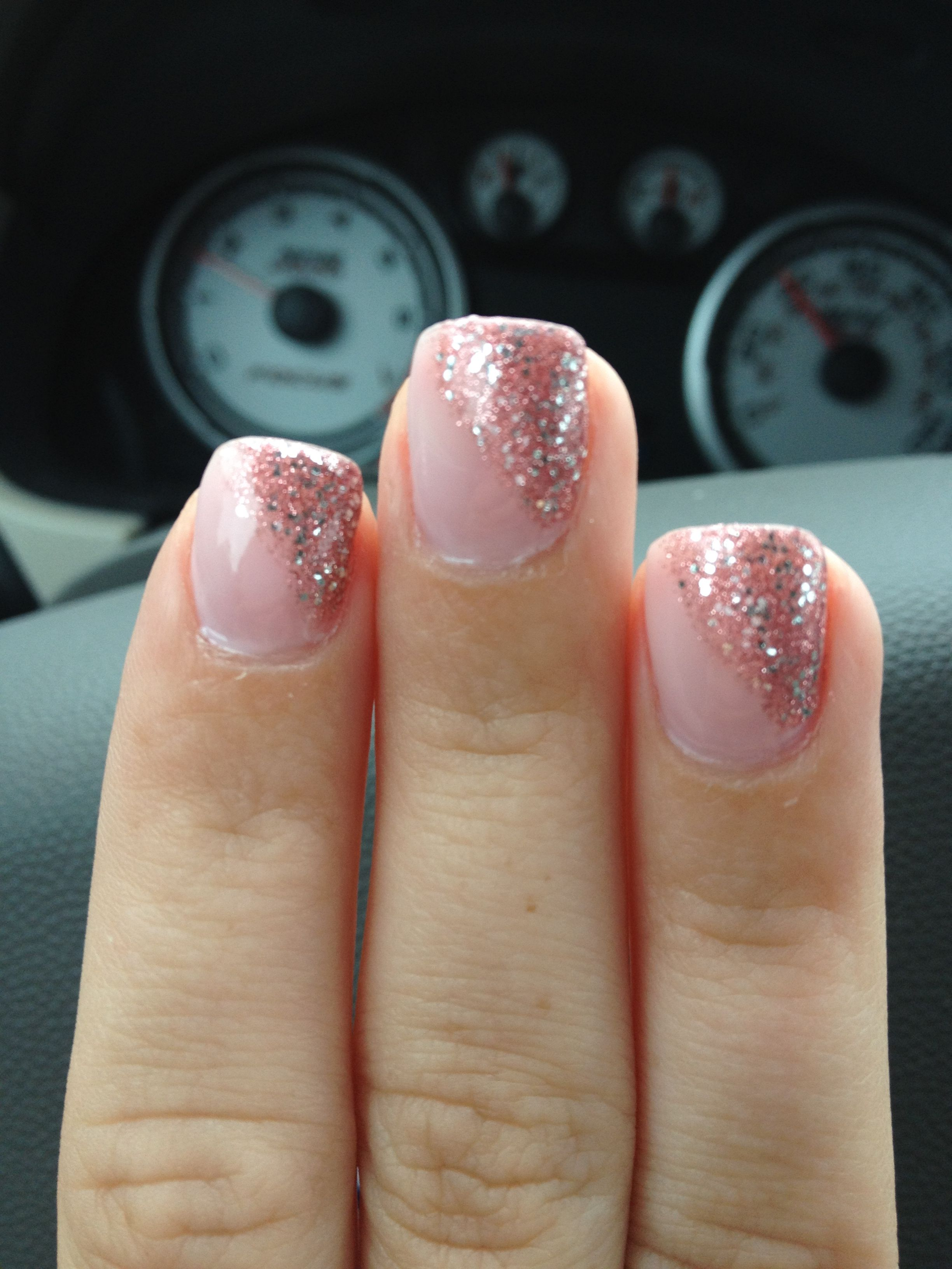 Light pink covers full nail use tape to make clean line