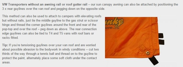 Vw Camper Sun Canopy Awning Instructions Connections Set Up Top
