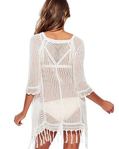 5385cdaf506b5 <b>Women Crochet Fringe Hollow Out Sexy Beach Dress Bikini Swimsuit Cover Up</b>  <b>Features:</b> 100% Brand New <b>Material:</b> Cotton <b>Color:</b> Black  ...