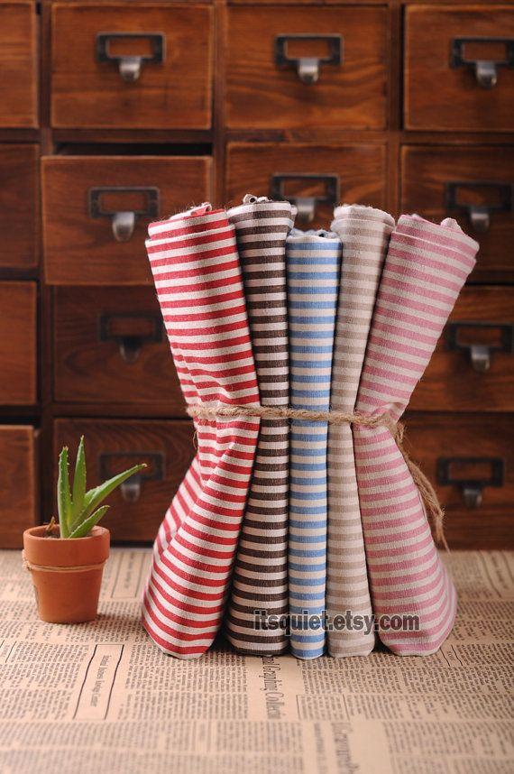 Tejido de lino de algodón, fiesta de rayas, cinco colores, cuartos grasa tela paquete de rayas