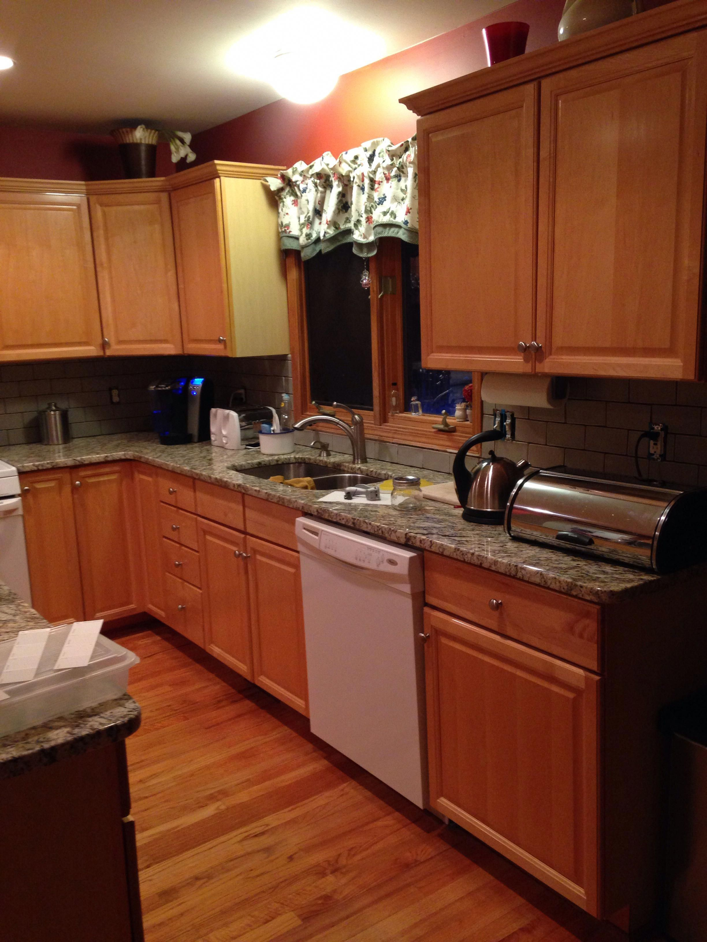 Necessities such as finest cooking area cupboard paint ... on Gray Countertops With Maple Cabinets  id=48625