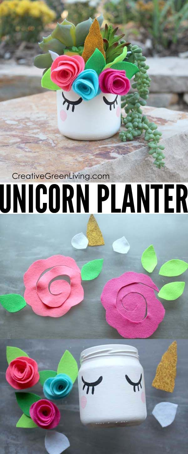Make a Kawaii Unicorn Mason Jar Succulent Planter