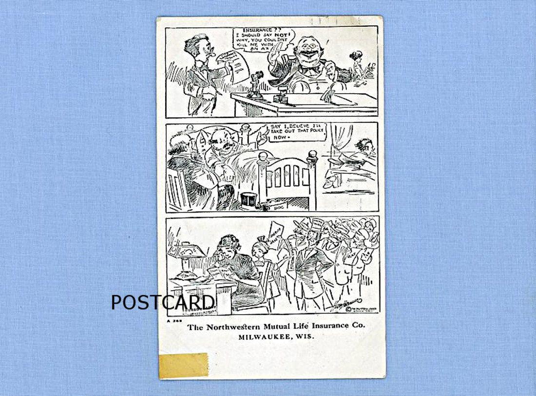 Cartoon strip postcard advertising northwestern mutual