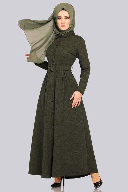 9106b8d3f2d55 Modaselvim elbİse kemerli elbise ferace ukb4025 desen1 haki – Artofit