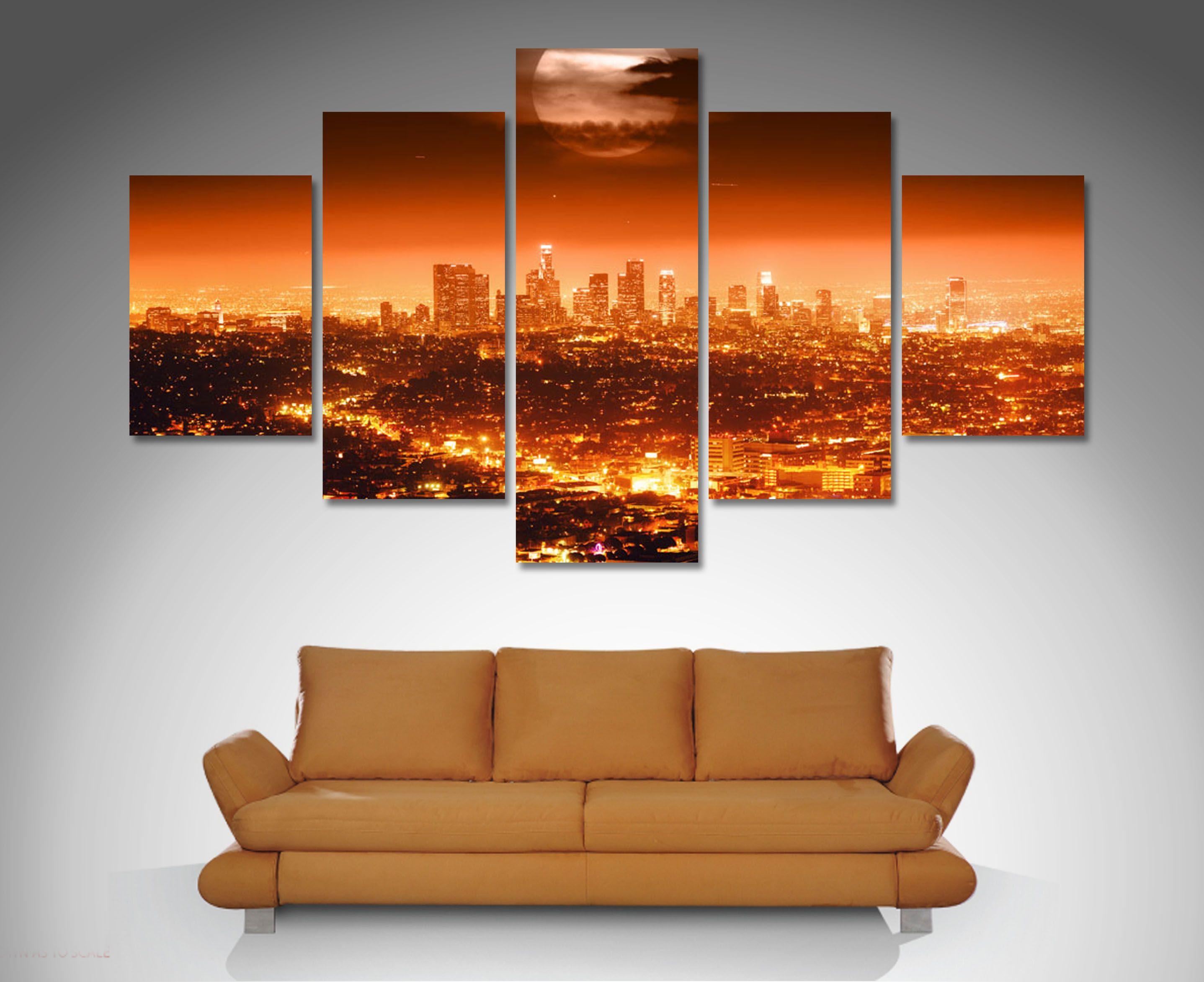 Los Angeles 5 Panel Wall Art Canvas Prints 5 Panel Wall
