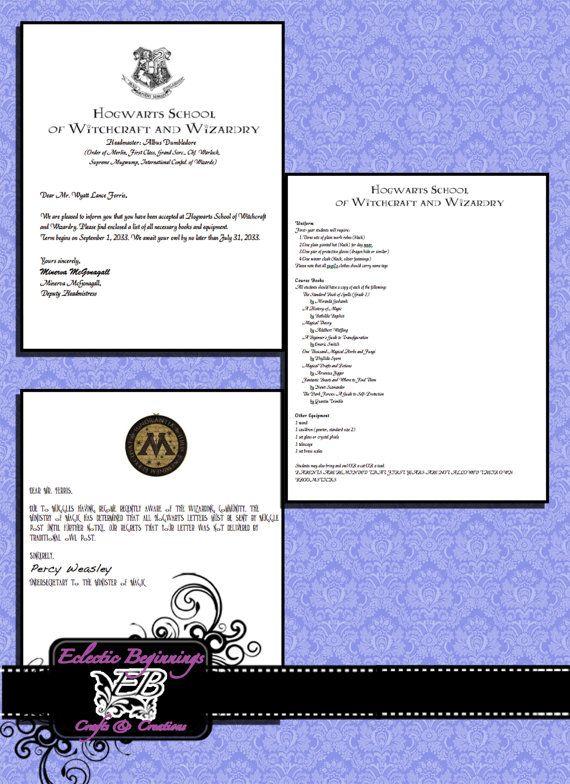 Harry Potter Custom Hogwarts Acceptance Letter Digital Files Diy