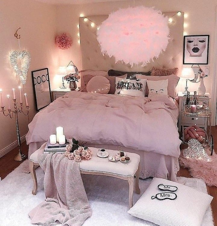 Pin by ...... on house creations | Pink bedroom decor ... on Cozy Teenage Room Decor  id=38008