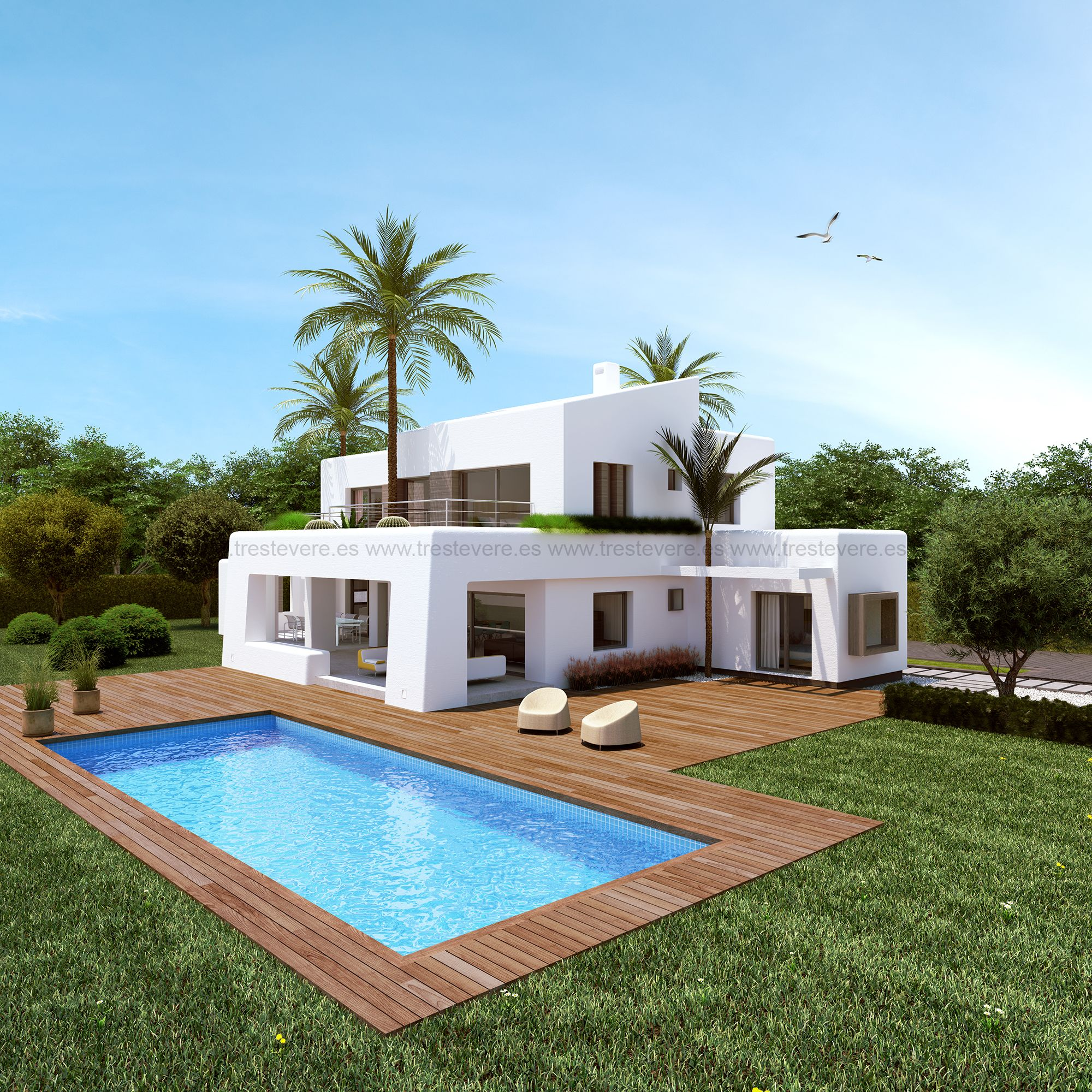 Vivienda moderna 01 casas verano pinterest viviendas for Fachadas de casas bonitas y economicas