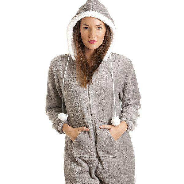 912ab587e Grey Luxury Super Soft Fleece Hooded All In One Onesie