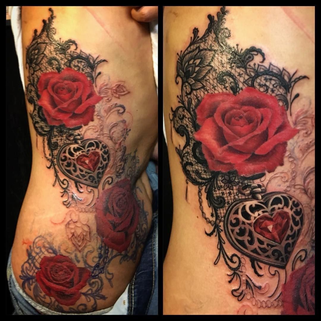e2fd35a9d00 amazing tattoo Love the lace #Freehand #lacetattoo #jeweltattoo  #embossed#heart#redroses#girlytattoo #guivy #geneve#gva#switzerland