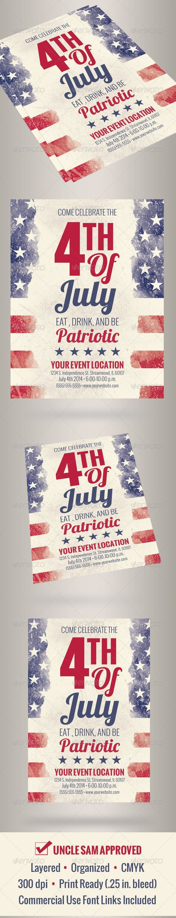 4th of july american flag blue celebration club cookout election entertainment event flag flyer holiday independence da flyers templates