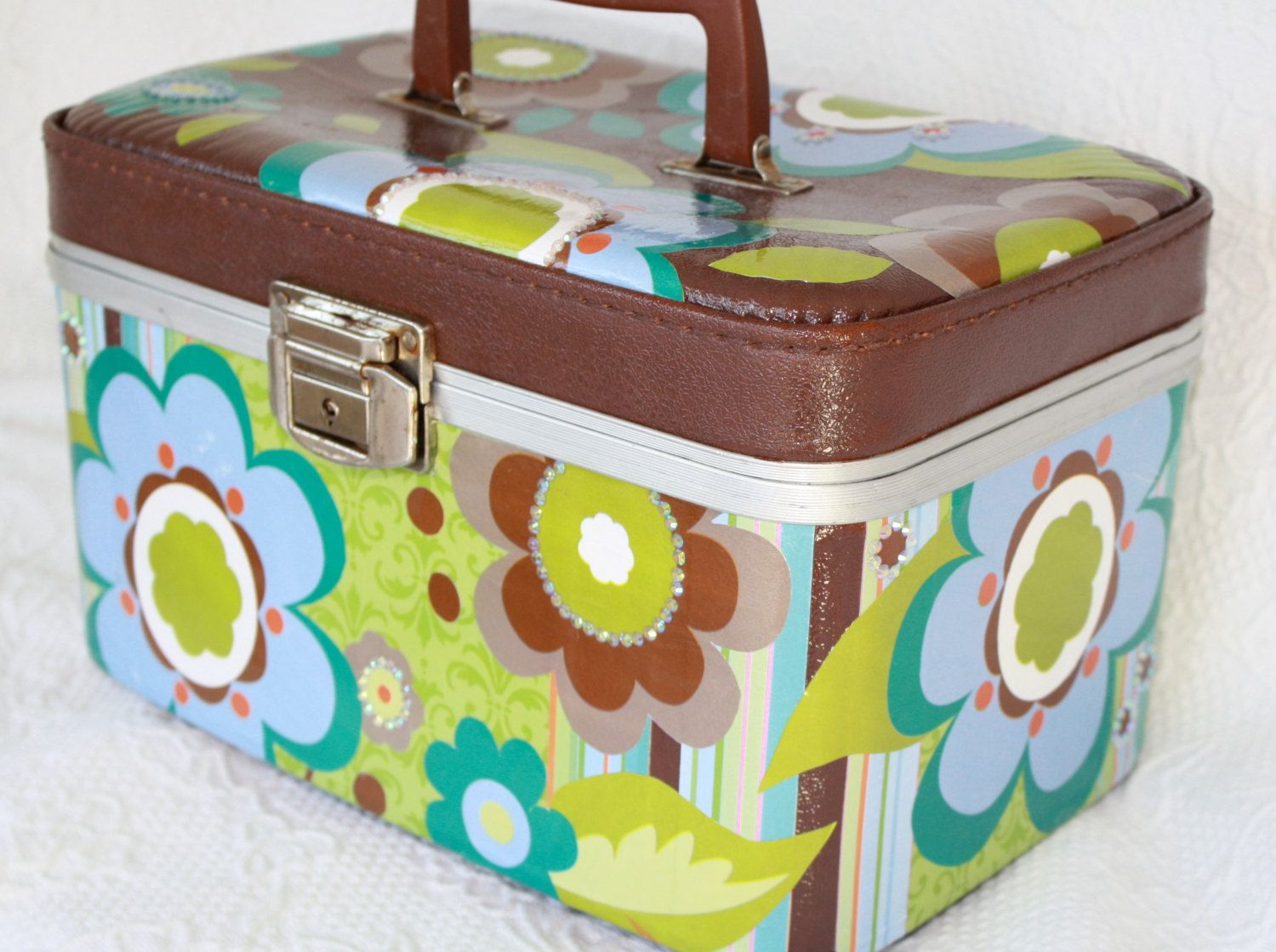 Upcycled Vintage Carry On Case Train Case Make Up Case Luggage by My Cozy Cottage Designs. $70.00, via Etsy.