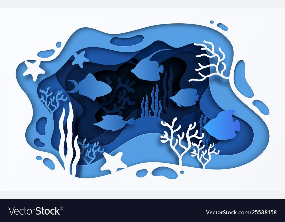 , Paper cut sea background underwater ocean coral Vector Image , #ad, #sea, #background, #Paper, #cut, MySummer Combin Blog, MySummer Combin Blog