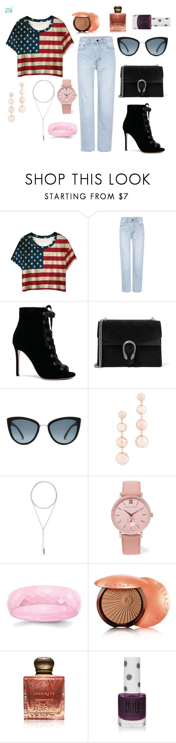 """""""Ootd - 2:58 A.M."""" by thebeauty26 ❤ liked on Polyvore featuring WithChic, Yves Saint Laurent, Gianvito Rossi, Gucci, Topshop, Rebecca Minkoff, W. Britt, Larsson & Jennings, Guerlain and Inspiritu"""