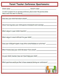Parent Teacher Conference Form For Parents    Conferences