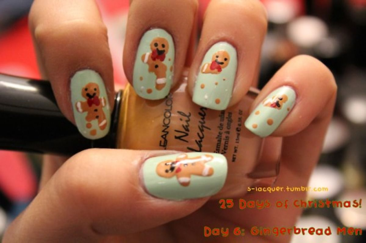 Guess How Much Glitter Was Used For This Manicure | Gingerbread man ...