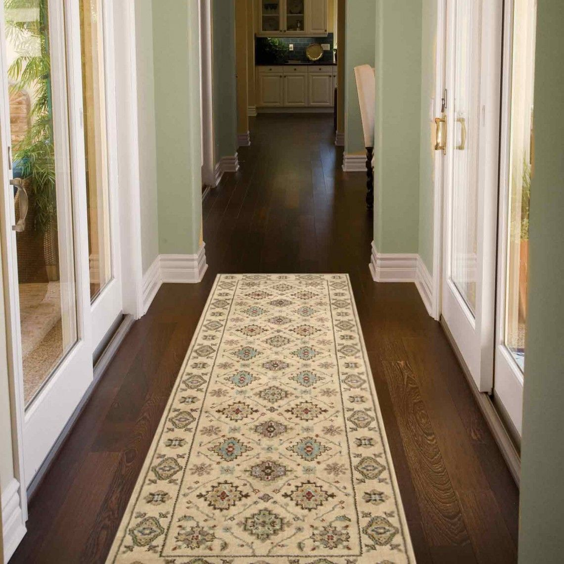 Mondrian kazak hallway runners with dark wood floor and for Rugs for dark floors