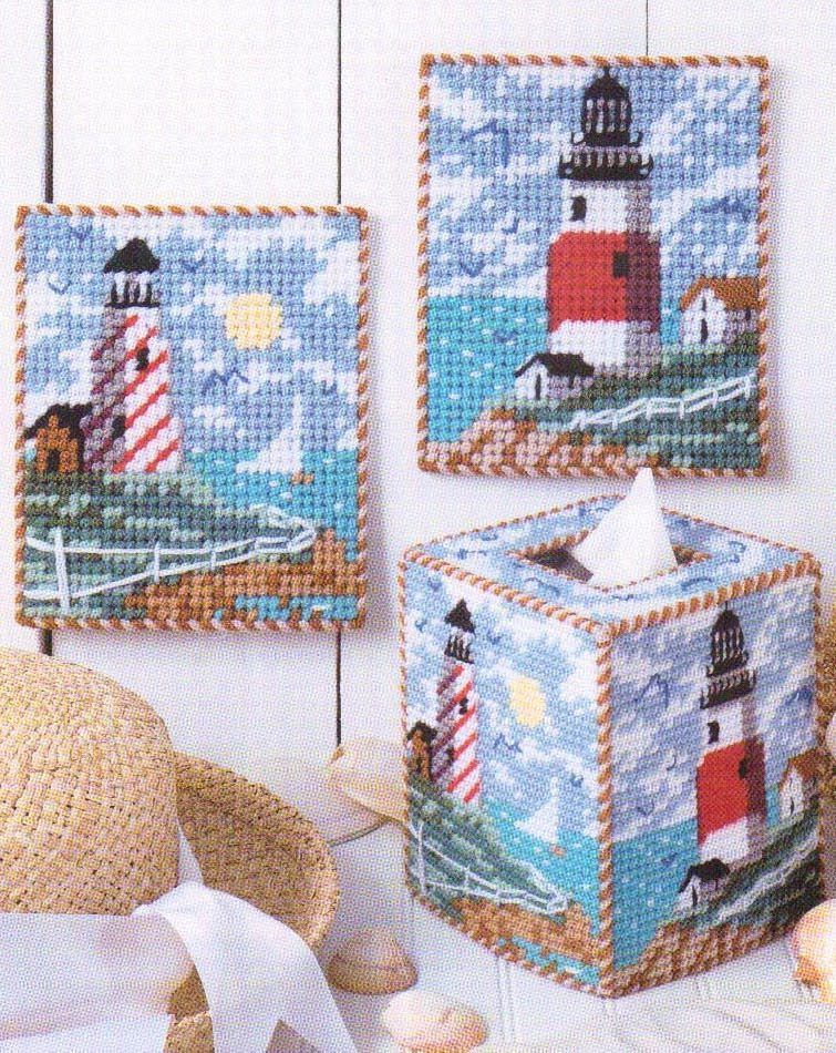 Alluring Lighthouses Tissue Box Cover Plastic Canvas