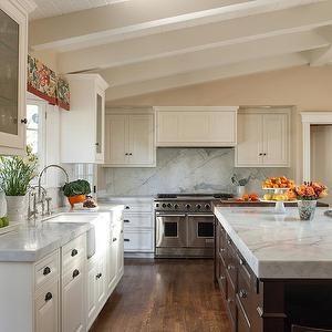 White Kitchen Vaulted Ceiling annie lowengart design - kitchens - vaulted ceiling, chinoiserie