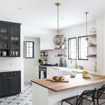 white and black kitchen with gray cement star floor tiles decor