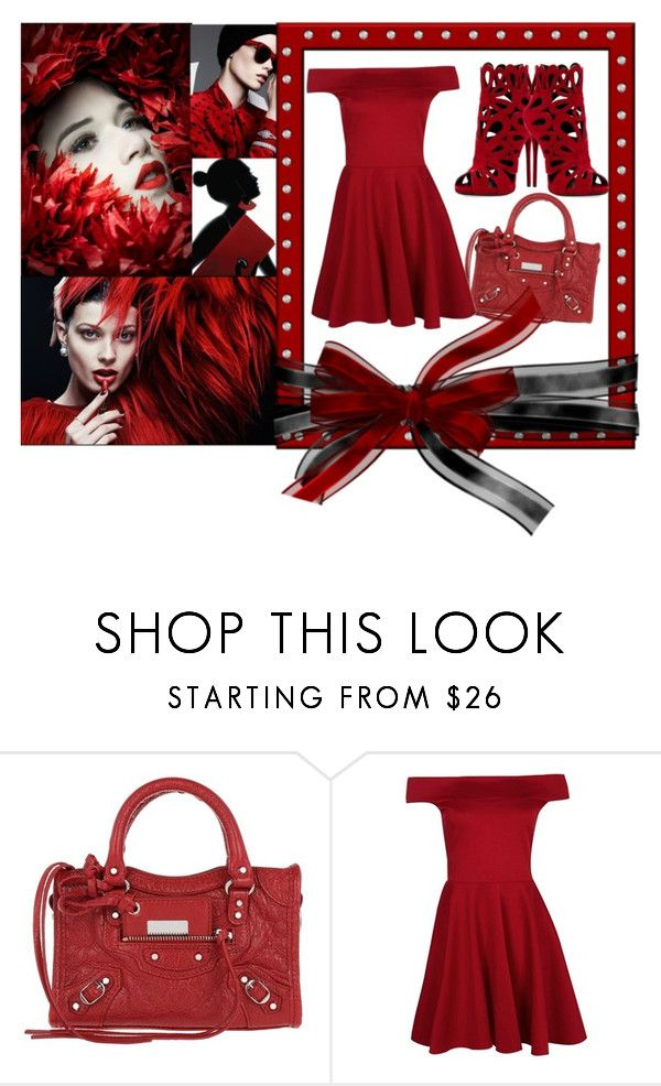 """""""Red"""" by gothbear13 ❤ liked on Polyvore featuring Balenciaga, Boohoo and Giuseppe Zanotti"""