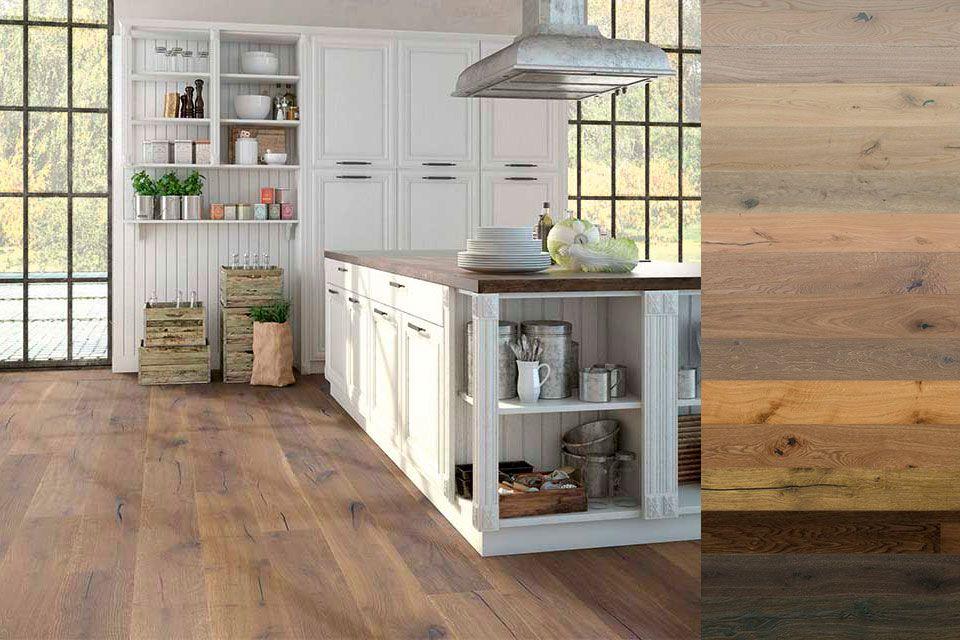 Parkettboden für eine Küche im Landhausstil: Landhausdielen ...