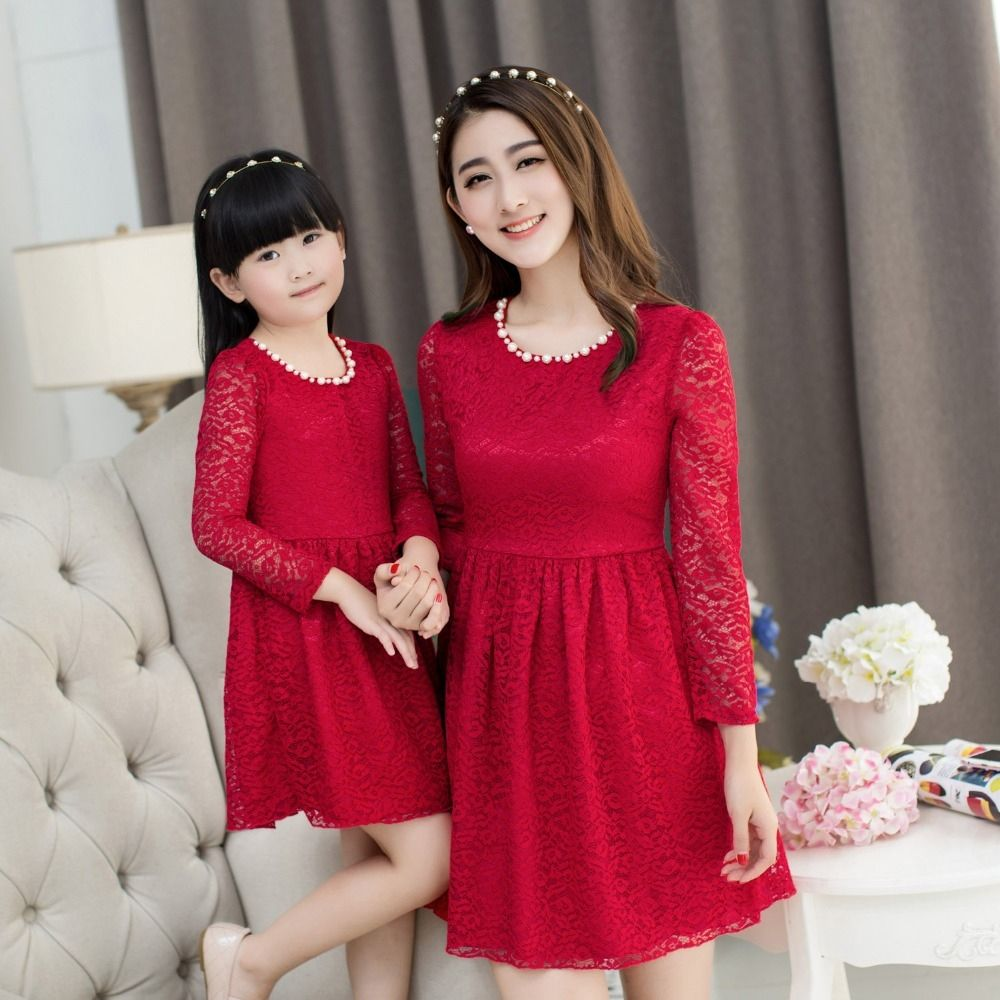 christmas lace dress girls party dress mother daughter dresses family  matching outfits clothes mommy fashionfa af1624bc1e35