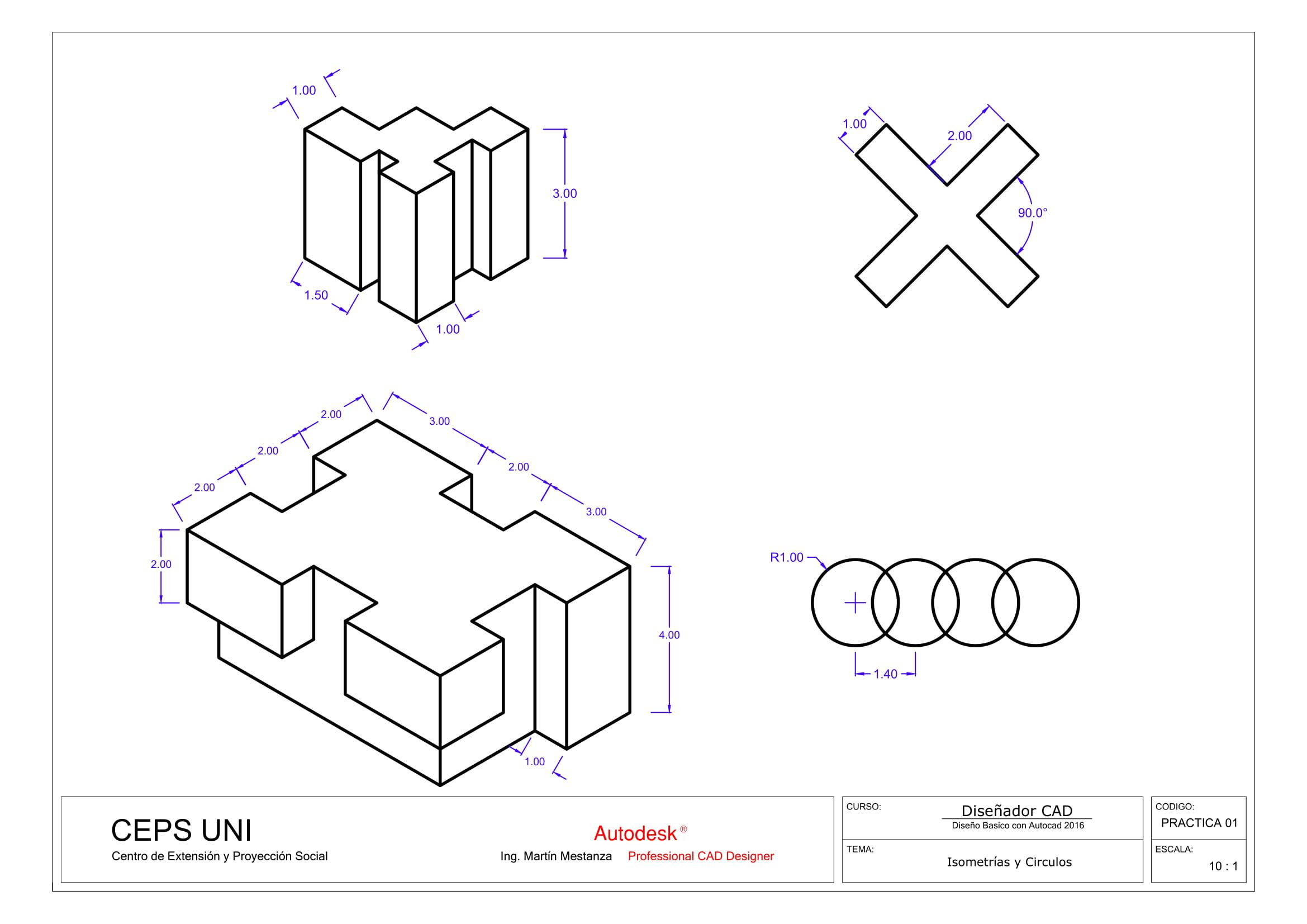 Practica De Clase Nº 01 Autocad Isometric Drawing Interesting Drawings