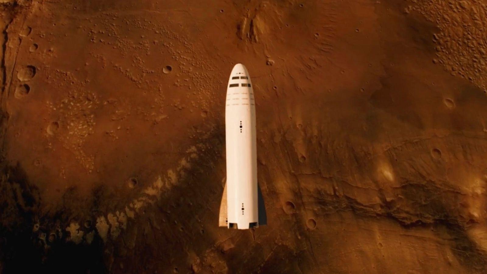 Spacex Bfr Spaceship Above Mars Spacex Starship Mars