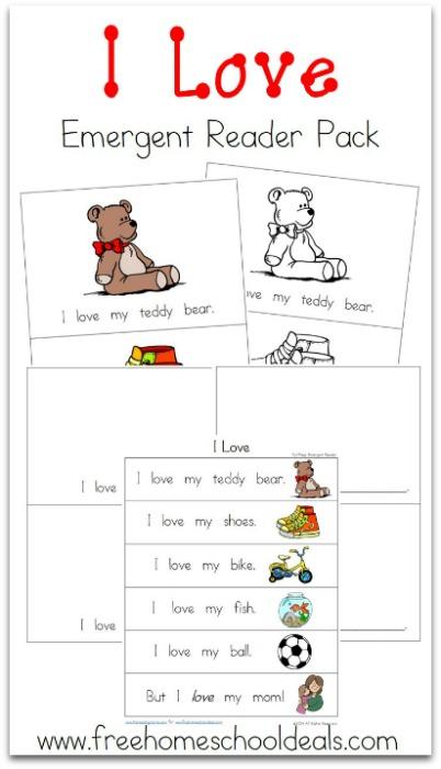 valentine 39 s day free i love emergent reader pack valentines theme kindergarten reading. Black Bedroom Furniture Sets. Home Design Ideas
