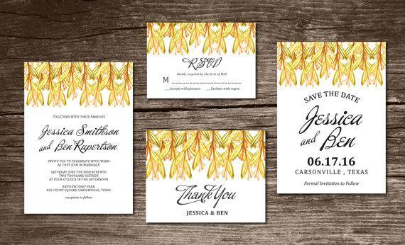 Wedding Invitation Suite Digital & Instant Download Printable Templates - watercolor