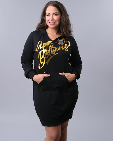 apple_bottoms womens signature black & gold hooded dress (plus