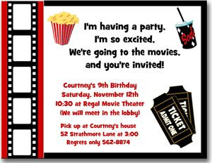 Movie Ticket Template Movie Themed Birthday Party Invitation Ideas