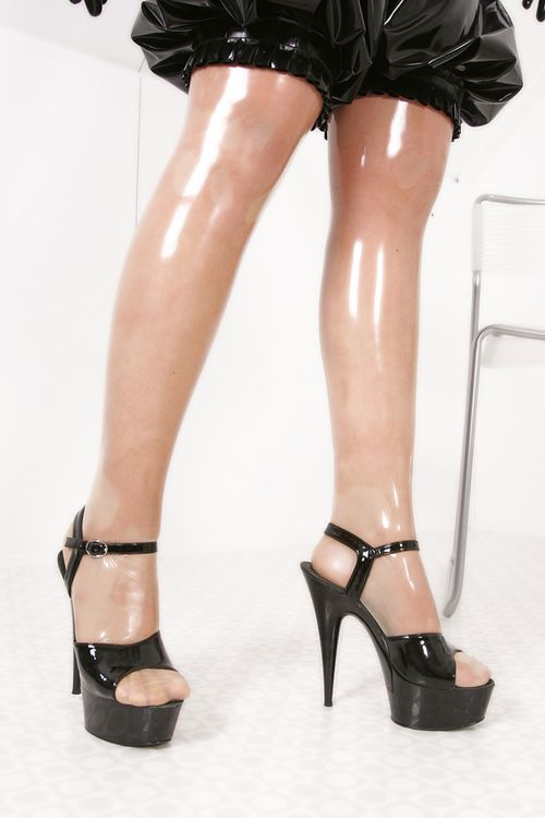 Clear latex stockings