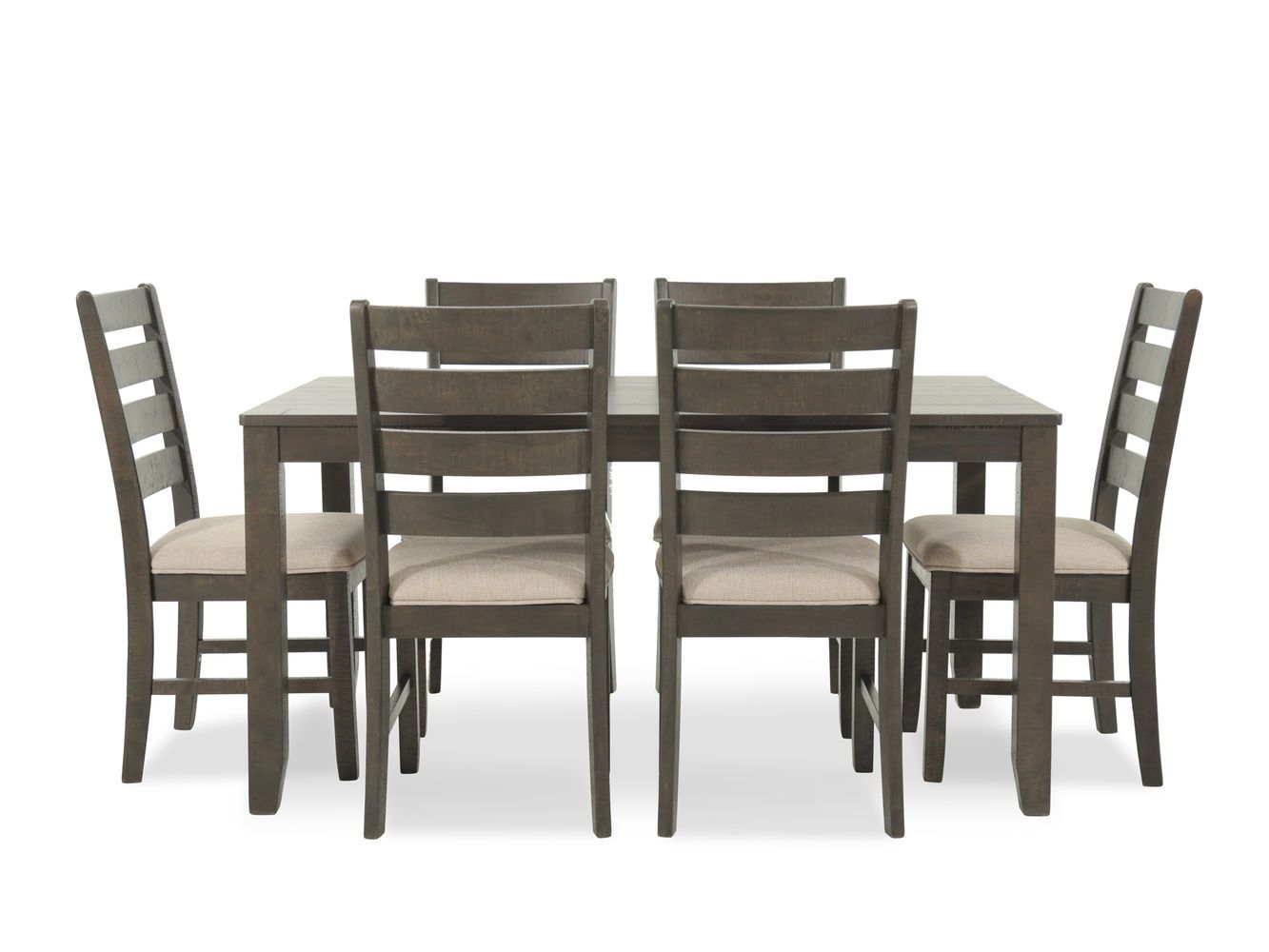 Ashley Rokane Brown Rectangle Seven Piece Dining Set Mathis