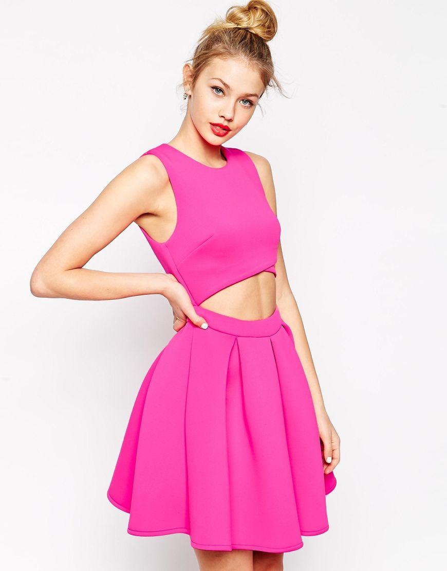 Image 1 of ASOS Premium Cutout Skater Dress In Bonded Scuba | To ...