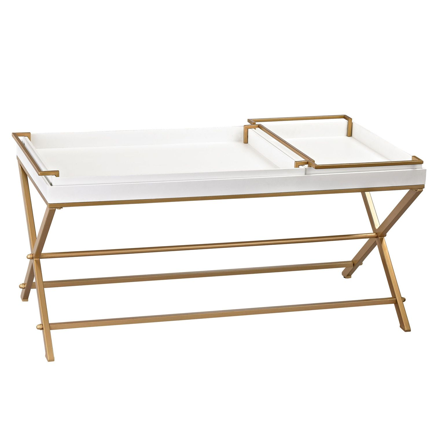 the white and gold coffee table offers a stunning surface with
