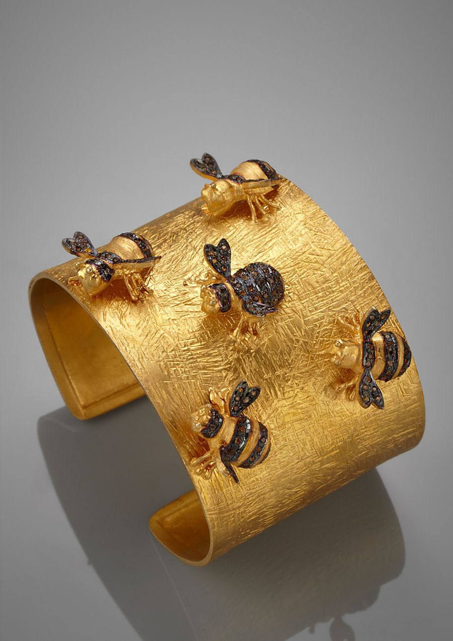 burnished gold bumblebee cuff bracelet