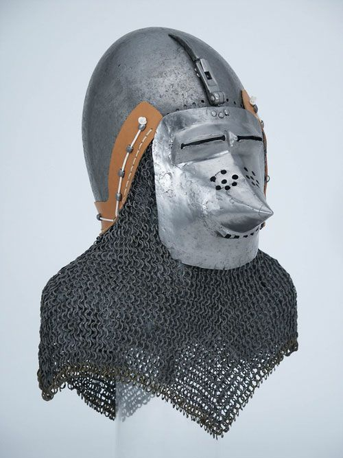 Basinet helmet with associated visor and aventail, about 1360-70.  Probably Germany  HAM #938.a. Higgins Armory Museum.